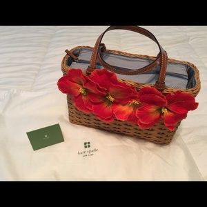 Kate Spade Straw Handbag with Poppies (Authentic)